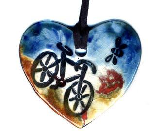 I Heart Biking Ceramic Necklace