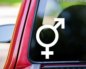 Intersex Gender Symbol Sign vinyl decal sticker Hermaphrodite Androgyny *Free Shipping*