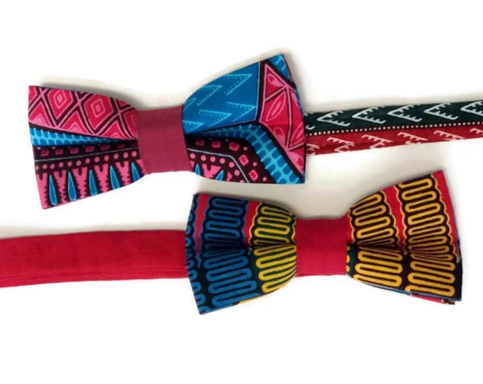 Pair Of Pink Dashiki African Print Bowties For Friends And Family