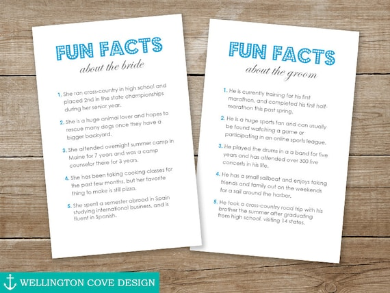 FUN FACTS Template Microsoft Word 5 Things About Bride And