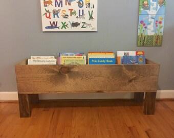 Wood Toy Box, Floor Bookshelf, Toy Storage, Bookshelf, Toy Bin, Book Storage, Kids Toy Box, Kids Bookshelf, Storage, Toy Box, Personalized