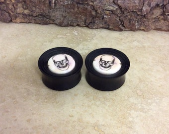 SALE! 30mm pair of Handmade wood and ceramic ear tunnels/ plugs