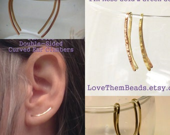 14K Gold Reversible Ear Crawler Climber Curved Line Earrings 20 gauge solid White Yellow Rose Green Gold sensitive ear 2 tone two tone
