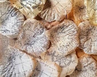 Travel theme party, Vintage map confetti, Wedding rose Petals, bridal shower decor, destination wedding, table confetti, centerpiece bling,