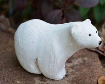 """eb2838 Polar Bear Sculpted Sculpture Plaster Stoneware 4.75"""" x 3"""" Tall Quite Heavy - Almost 15 oz Before Packaging"""