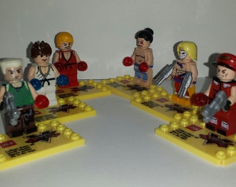 Street Fighter Set of 6 Minifigs Ryu Ken Guile M.Bison E.Honda Vega Building Block Toy