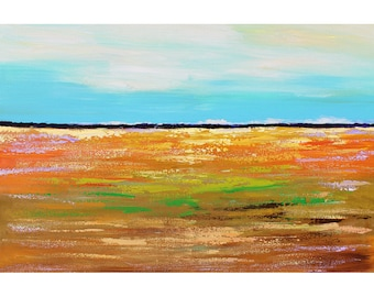 original painting  abstract acrylic landscape field teal orange salmon blue turquoise gold  minimalist