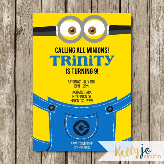 Minion birthday party invitation yellow blue minion invite like this item filmwisefo Gallery
