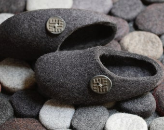 Felt Slippers in Charcoal Gray. Hand Made Felted Wool Slippers. Size: Australian W 6;  UK W 5; EU 38  Made To Order.