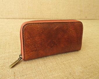 Leather zip around wallet, handmade women wallet, clutch wallet, ladies purse