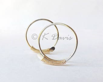 Sterling Silver Open Hoop Yellow Gold Wrapped Earrings, Sleeper Hoops, jewelry Gift, womens gift, Mothers Day gift, Mom gift