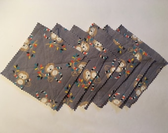 Monkey flannel coasters, set of 6