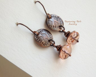 Pale Pink Earrings, Czech Glass Bead Drop, Handmade Charms, Artisan Hammered Copper Jewelry
