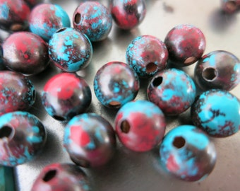 10 Sonora Sunrise Patina Beads, Copper Beads, Hand Applied Patina, Choose 4mm, 6mm, 8mm or 9.5mm Beads