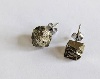 Raw Pyrite Gemstone Stud Earrings Stainless Steel Nickel-Free Shamanically Activated and Cleansed
