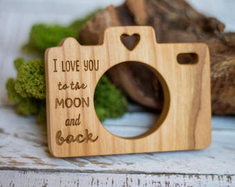 Wooden Camera Teether | Natural Cherry Wood Baby Shower Gift | Organic Newborn Teething Toy |  Grasping Stroller Toy | Eco-friendly Baby Toy
