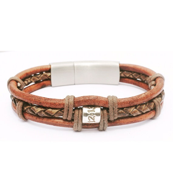 Mens Leather Bracelet Mens Personalised Bracelet Mens