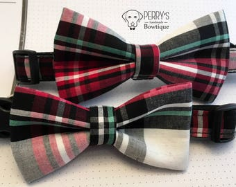 Masdras Plaid Red/Green Bow Tie and Collar