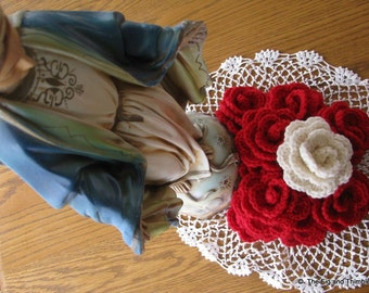 Crocheted Wool Rosary Roses - One Decade Set - Red, Pink, or White