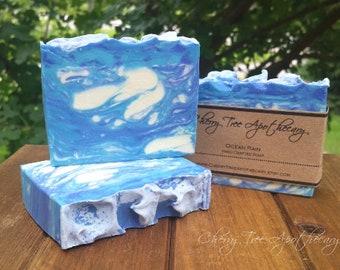 Ocean Rain Handcrafted Soap - Bar Soap - Handmade Soap - Waves Soap - Beach Soap - Blue Soap
