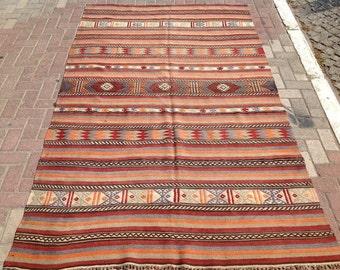 RUSTIC Turkish rug, Kilim rug, Vintage Turkish kilim rug, area rug, kilim rug, kelim rug, vintage rug, bohemian rug, Turkish rug, faded, 597