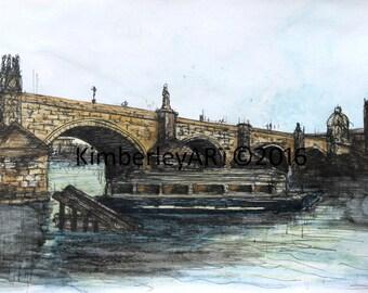 Charles Bridge Prague Watercolour Painting, Watercolour Art Print, Famous Bridge Art Print, Prague Watercolour Art Print