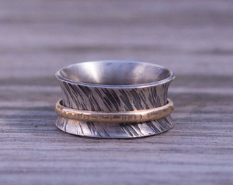 Spinner Ring, Sterling Silver Ring Adorned with Textured Gold-Filled Band, Nickel Free, Eco-Friendly