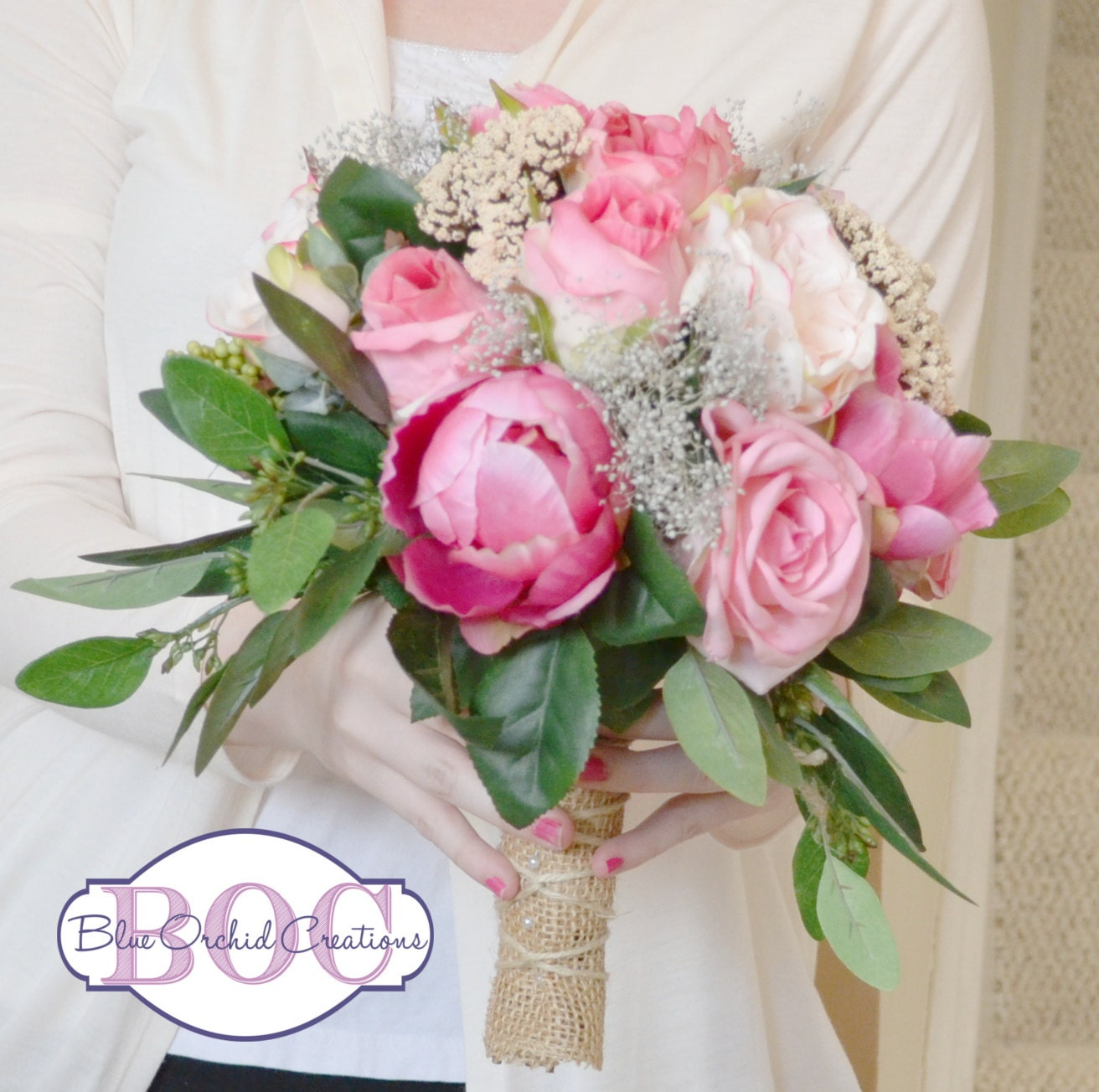 Wedding Bouquet Rose Garden Rose Peony Seeded Eucalyptus