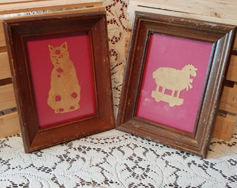 VINTAGE 2 wooden frames with 2 Mid century wooden frame, collage, vintage frames with animals