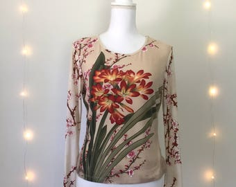 90s long sleeve CHERRY BLOSSOM top / long sleeve / floral / beige pink / size medium large