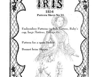 Iris Fashion Pattern 1854, No 33, full size reprint