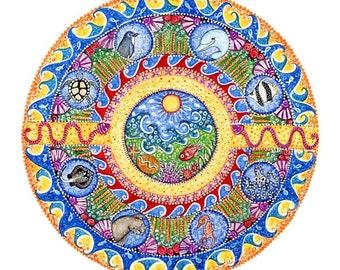 Ocean Landscape Mandala Print mandala art meditation yoga wall decor mandala posters