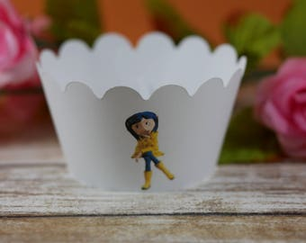 Coraline cupcake wrappers, Coraline theme, cupcake wrapper, birthday favor,Cupcake Wrap