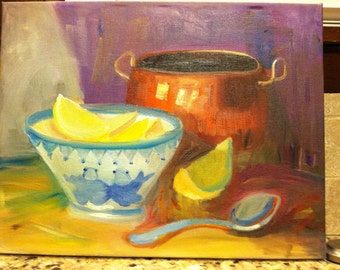 Copper Pot and Lemons - Original Oil Painting