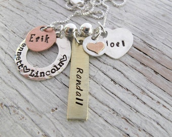 Personalized Family Charm Necklace, Christmas Gift, 3 kids, 4 kids names, Mother's Necklace, Grandmother Necklace