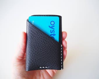 Leather Card Holder, Leather Card Wallet, Leather Card Case, Travel Card Holder - Black