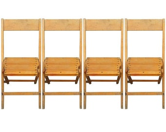 Save 20% on a Set of Four Vintage Wooden Folding Chairs. Quantity available.