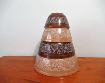 Vintage Pyrex, Woodland, Nesting Bowl Set, Bowls, retro, kitchen decor, farm house, cottage