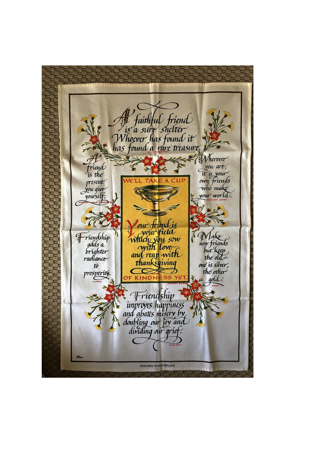 Quotes About Tea And Friendship Vintage 1970S Friendship Tea Towelross  Friendship Quotes