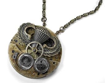 Steampunk Jewelry Necklace GRUNGE Mens Pocket Watch Bold Gears WW2 Paratrooper Military Air Ship Burning Man, Boyfriend Gift - by edmdesigns
