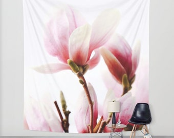 Nature Tapestry - Flower Tapestry - Pink - Boho Decor - Wall Tapestry - Cottage Decor - Shabby Chic Decor - Magnolia Tree - Romantic Decor