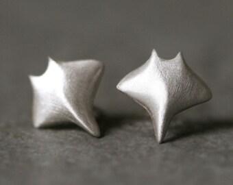 Baby Manta Ray Earrings in Sterling Silver