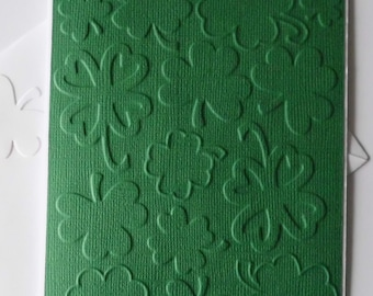 Shamrock Cards, Set of 4, St. Patrick's Day Cards, Blank Greeting Card, Green Embossed Shamrock Note Cards, Four Leaf Clover, Good Luck Card