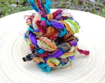 Recycled Sari Silk Ribbons Variety - 10 colours - 10 yards min