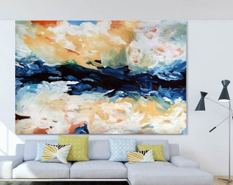 BLUE ABSTRACT Painting Large Wall Decor, Original Acrylic Painting on Canvas Art Large Canvas Art Custom Extra Large Painting Wall Art Blue