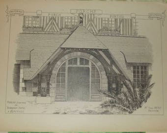 Old Documents, Architecture and Sculpture 1913 Villa st Prex Switzerland & porch of the Normandy - Hotel by Deauville, France