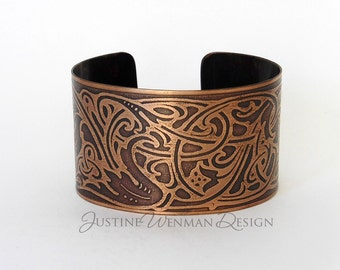 Copper Cuff Etched w/ Viking Motif, Norse, Celtic, Intertwining, Ancient-looking, Runes, Woman's Bracelet