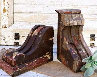 PAIR of brown chippy salvaged gingerbread corbels