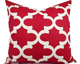 Two Throw Pillow Covers Deep Red and Beige - Red Decorative Pillow - Red Quatrefoil Pillow - Accent Pillow -  Pillow Covers