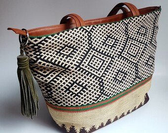 Unique Kilim Leather Tote Bag / Brown Leather Tote Bag / Boho Style Bag / Ethnic Tote Bag / Tapestry Leather Bag
